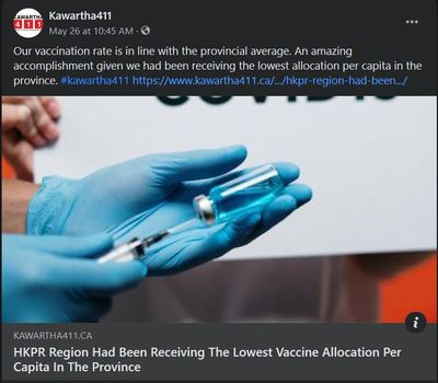 May 26, 2021: HKPR region had been receiving the lowest vaccine allocation per capita in the province
