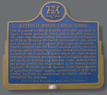 Alderville Manual Labour School plaque