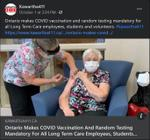 October 1, 2021: Ontario makes COVID vaccination and random testing mandatory for all long-term care employees, students, and volunteers
