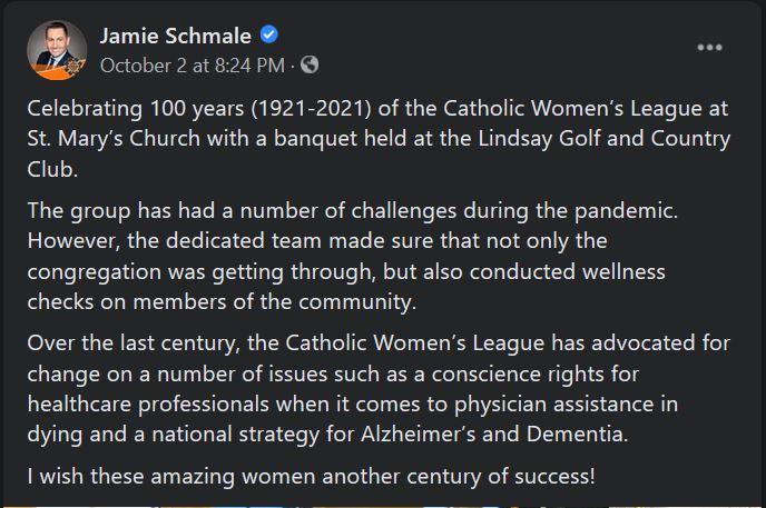 October 2, 2021: The Catholic Women's League, St. Mary's Church, celebrates 100 years