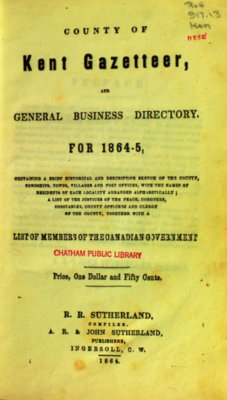 Kent County Gazetter and Business Directory for 1864