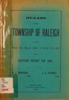 By-laws of the municipal council of the Township of Raleigh, 1894