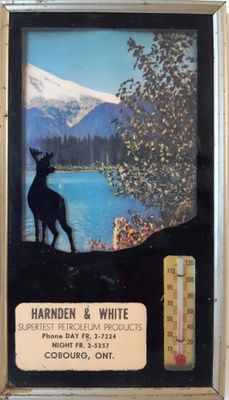 Harnden & White Supertest Petroleum Products framed picture with Thermometer