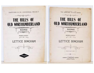"""The Hills of Northumberland"" music sheets, by Lettice Bingham"