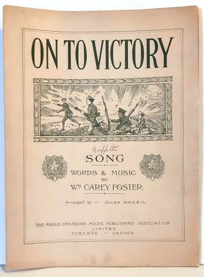 """On To Victory"" sheet music. Date unknown."