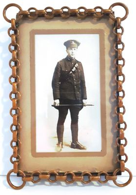 Framed photograph of WW1 soldier. Identity unknown.
