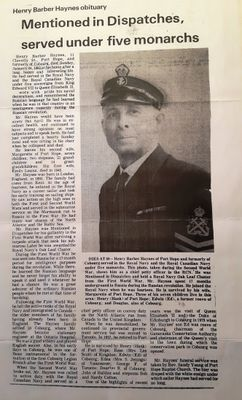 Henry Barber Haynes Obituary. January 24th 1982.