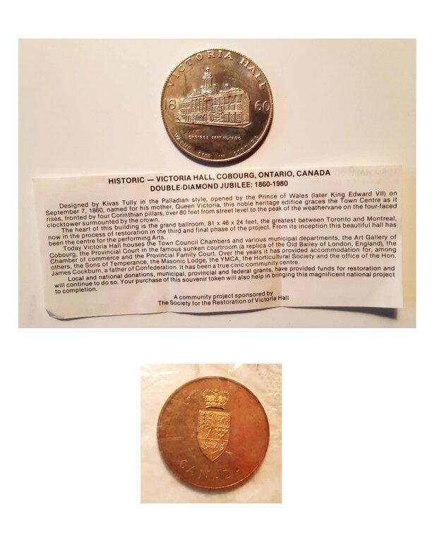 Commemorative coins (Victoria Hall and Canadian Confederation).