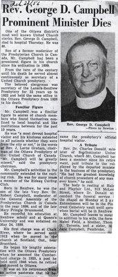 article de journal: Rev. Goerge D. Campbell Prominent Minister Dies.