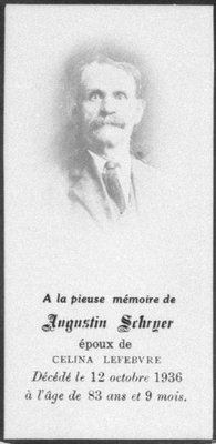 Carte mortuaire d'Augustin Schryer