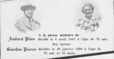 Carte mortuaire d'Adélard Pilon et de Caroline Perron.