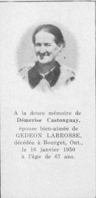 Carte mortuaire de Démerise Castonguay.