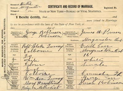 Robert Blake Gurney and Edith Carr, Marriage certificate