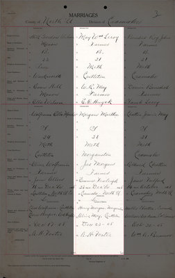 William Leroy May and Martha Morgan, Marriage Register, County of Northumberland, Division of Cramahe