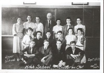 Class photograph, Upper School, High School, Colborne, Cramahe Township, September 1938