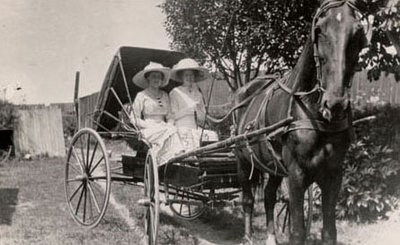 Horse drawn carriage pulled by Old Dan and driven by Annie Tucker with Helen Ryan