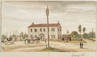 Watercolour of Cramachie [Keeler Tavern] by James Pattison Cockburn, before 1847