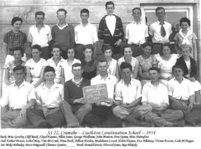 Class photograph, Castleton Continuation School, School Section 22, Cramahe Township, 1934