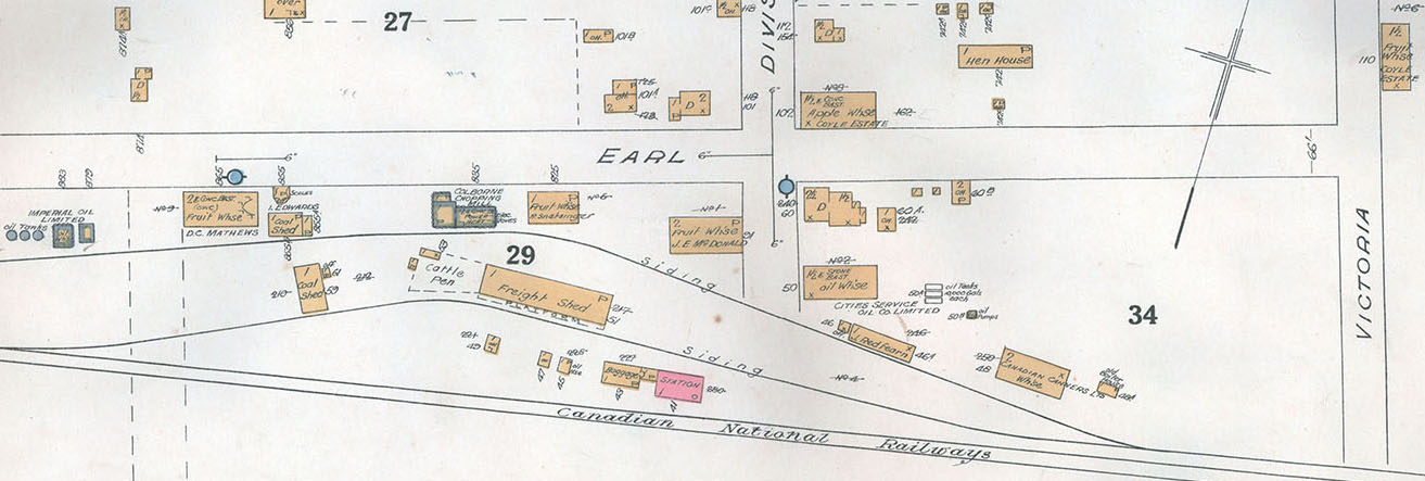 Exhibit, Apple and Fruit warehouses, 1934 map detail