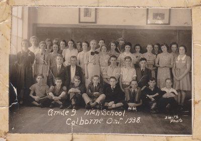 Class photograph, High School,  Grade 9, Colborne, Cramahe Township, September 1938
