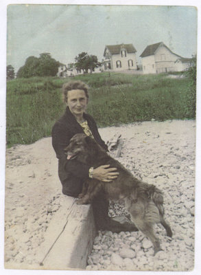 Mrs. Mary O'Connor with her dog, Front St. S., Lakeport, 1934
