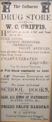 1884 W.C. Griffis newspaper ad, Griffis Drug Store, Colborne, Cramahe Township