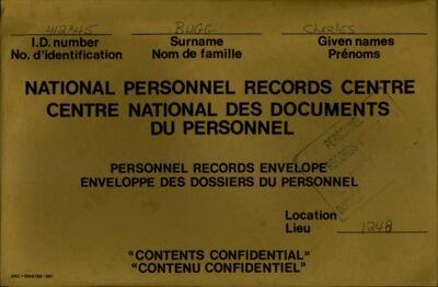 Charles Bugg, Service Files, WWI, Cramahe Township