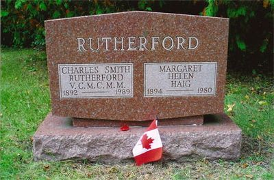 Charles Smith Rutherford and Margaret Helen Haig headstone, Union Cemetery, Colborne, Cramahe Township