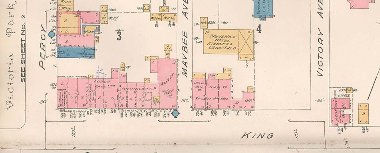 Detail of Brunswick Hotel and stables, Insurance Plan (Goad Map) of the Town of Colborne, 1934 by Underwriters' Survey Bureau