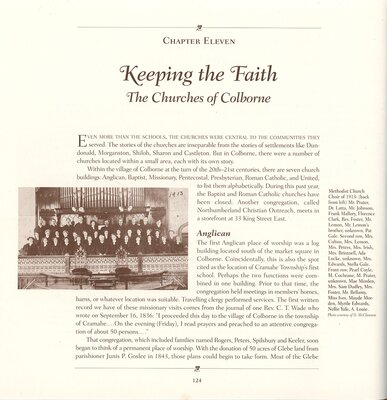 """Keeping the Faith: The Churches of Colborne"" in How Firm a Foundation: A History of the Township of Cramahe and the Village of Colborne, pp.124-132."