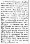 Isabella Robertson obituary, newspaper clipping, Colborne, Cramahe Township