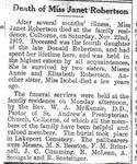 Janet Robertson obituary, newspaper clipping, Colborne, Cramahe Township