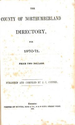 The County of Northumberland directory, for 1870-71