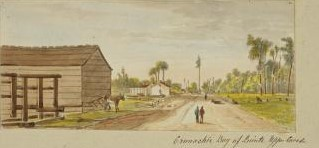 Watercolour of Cramachie, Bay of Quinte, Upper Canada by James Pattison Cockburn, 1826-1847