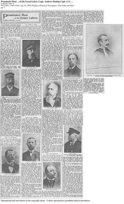 "Captain James Dougherty, Colborne in ""Prominent Men of the Great Lakes""  Apr 30, 1898; The Globe and Mail, newspaper clipping"