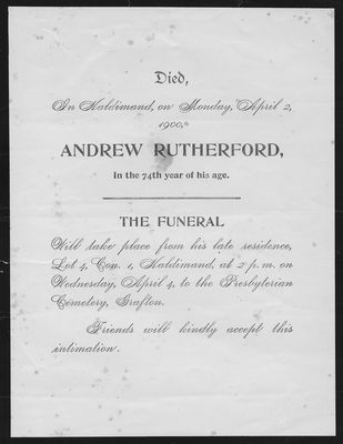 Andrew Rutherford, funeral announcement, Haldimand Township