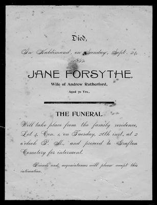 Jane Forsythe, funeral announcement, Haldimand Township