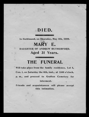 Mary E. Rutherford, funeral announcement, Haldimand Township