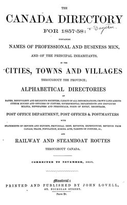 The Canada directory for 1857-58