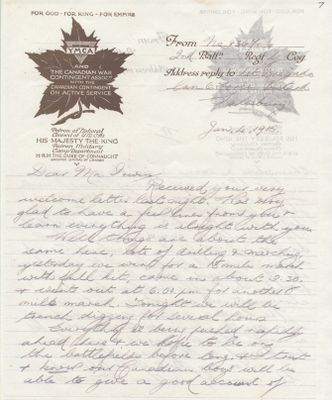 Transcript of a WWI letter originally published in Cobourg World, Walter Thomas Robus, Colborne, Cramahe Township