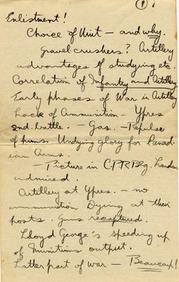 Transcript of a WWI letter originally published in Cobourg World, Raymond Ellsworth Ives, Colborne, Cramahe Township