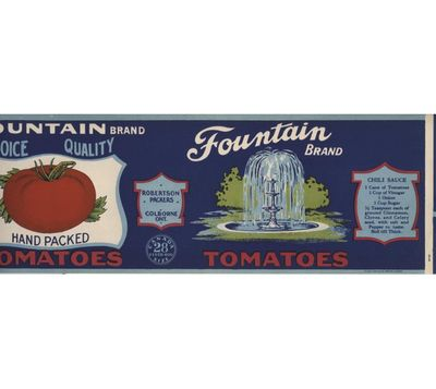Fountain can label, Robertson Packers, Colborne, Cramahe Township