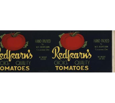 Redfearn's tomatoes can label, Colborne, Cramahe Township