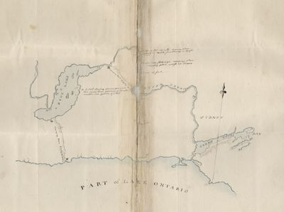 Map of the North Shore of Lake Ontario, the Trent River, and Rice Lake, 1792