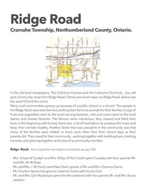 Local history of Ridge Road, Cramahe Township