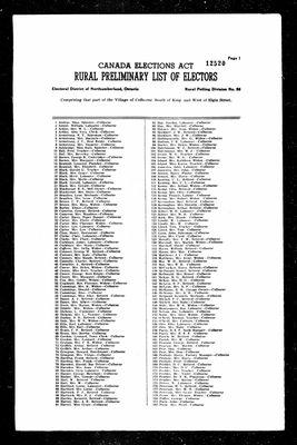 1963 Voters List, Cramahe Township