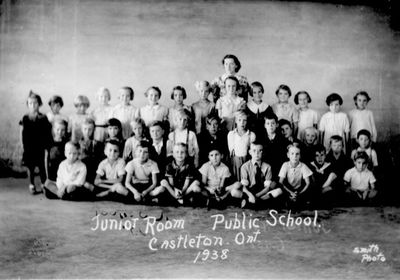 1938 Class photograph of juniors and Mrs. Richardson, Castleton School, Cramahe Township