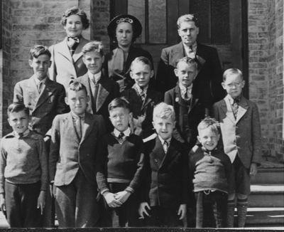 1938 Group photograph of boys' choir, Northumberland Music Festival