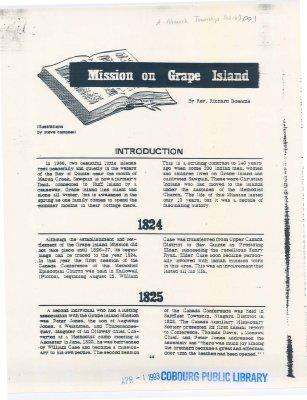 Mission on Grape Island