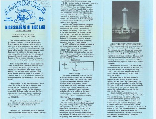 Brief history of the Alderville First Nation, the Mississaugas of Rice Lake, and the Cenotaph